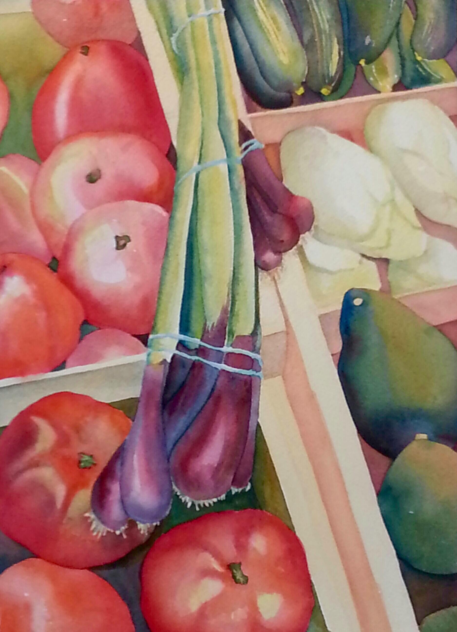 "The Vegetable Vendor, watercolor, 20"" x 16"", (unavailable)"