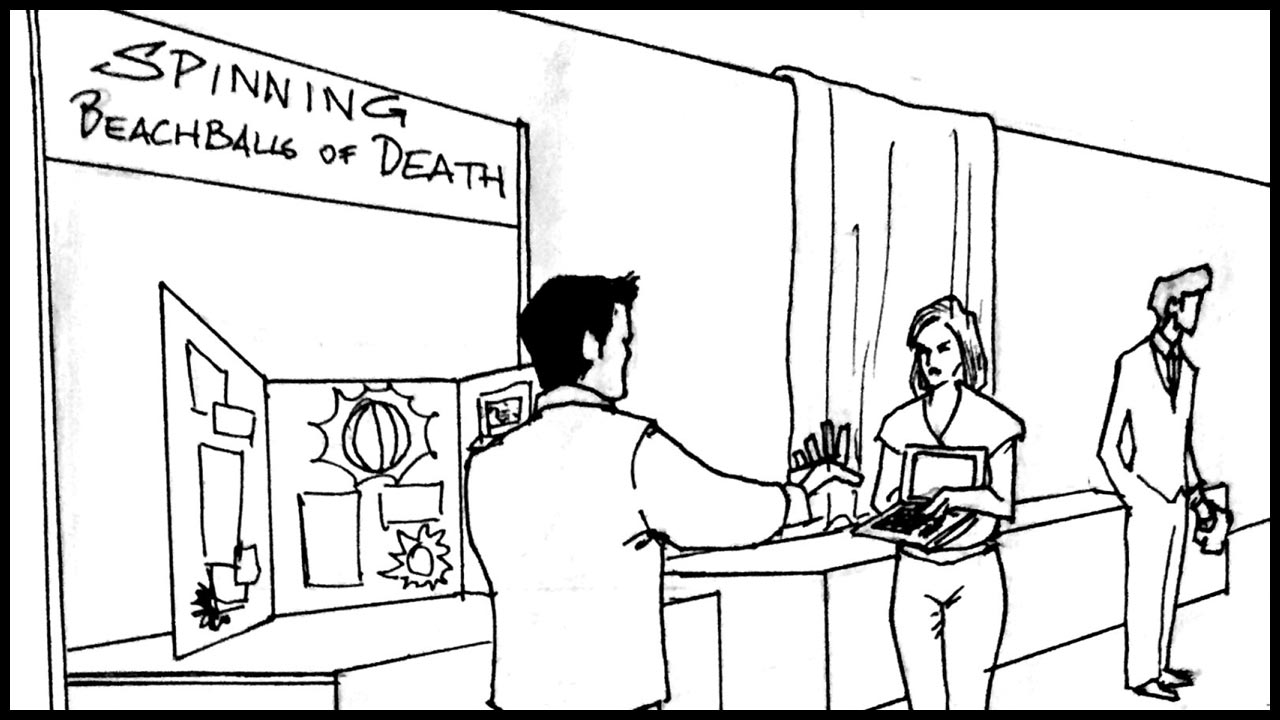 """A lady holds up her computer in front of a booth labeled: """"SPINNG BEACHBALLS OF DEATH""""       Lady:  """"See?? Days now. I can't do anything!"""""""