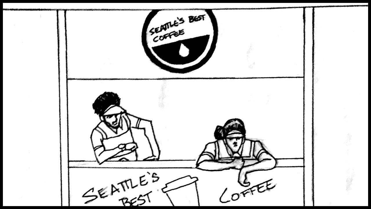Seattle's Best Coffee's booth is completely empty. The workers smile eagerly but no one stops by.