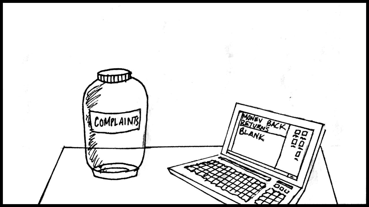 """The complaints jar is empty. A computer screen with a document titled: """"Money Back Returns"""" is blank."""