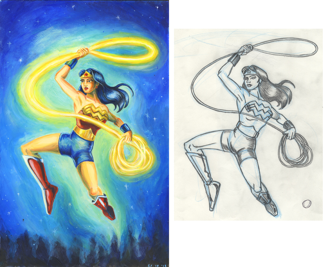 """""""Wonder Woman"""" drawing by Tom (graphite ) painting by Sandra Fremgen (acrylics)"""