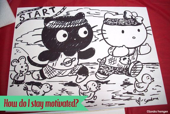 This is a picture I drew for a kid at the Children's hospital Pediatric Picnic. She was a fan of Hello Kitty and Chocoocat. =)