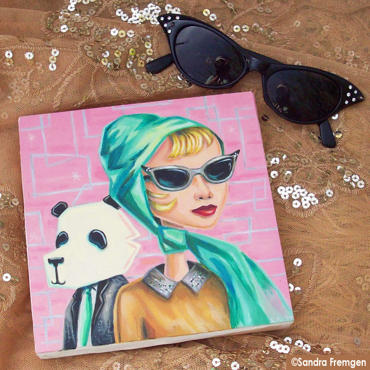 The Pink Panda painting with my lovely scarf and sunglasses!