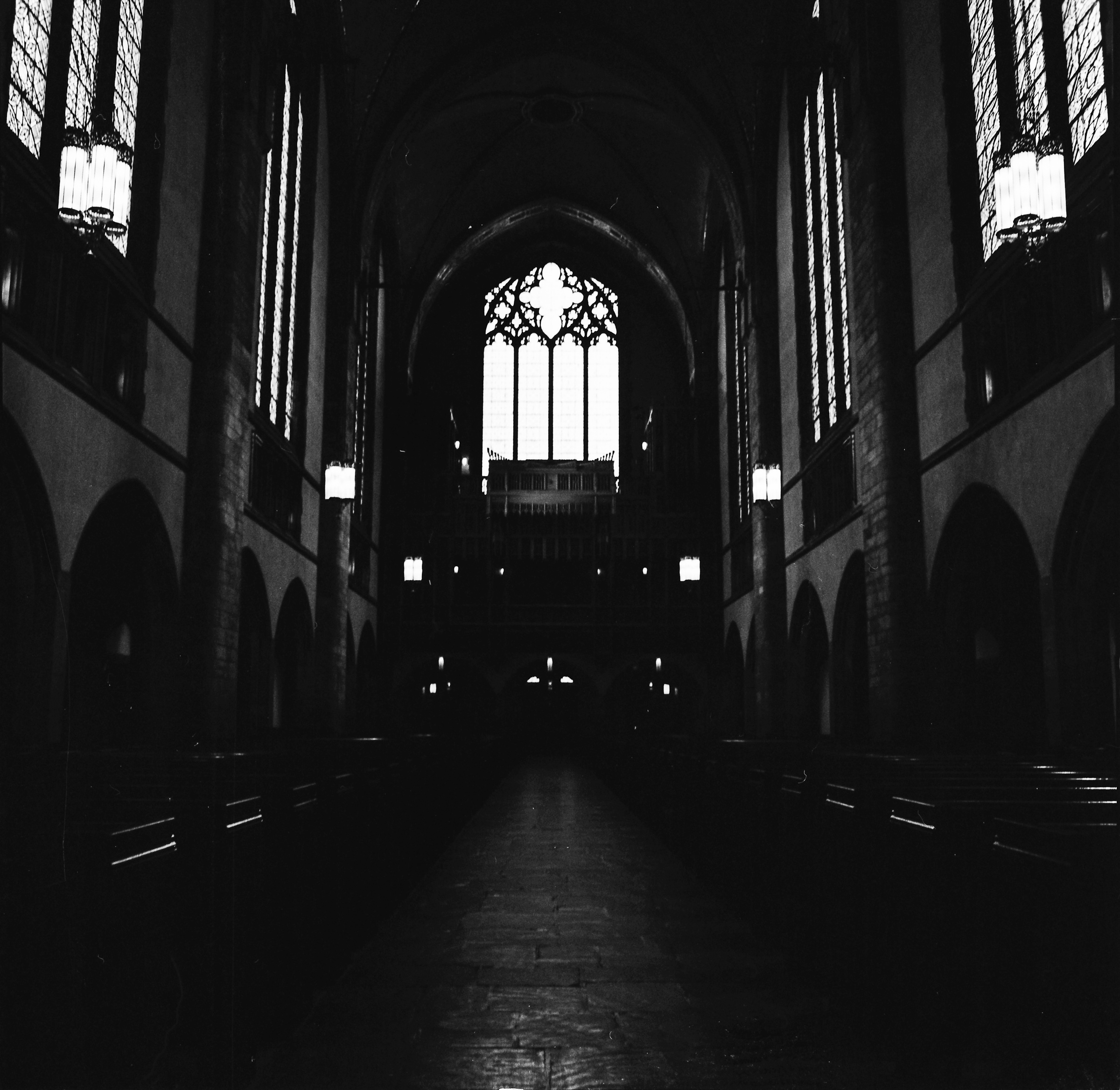 Rockefeller Chapel. University of Chicago. Tri-X 400, pushed to 800. Stand-developed in Rodinal.