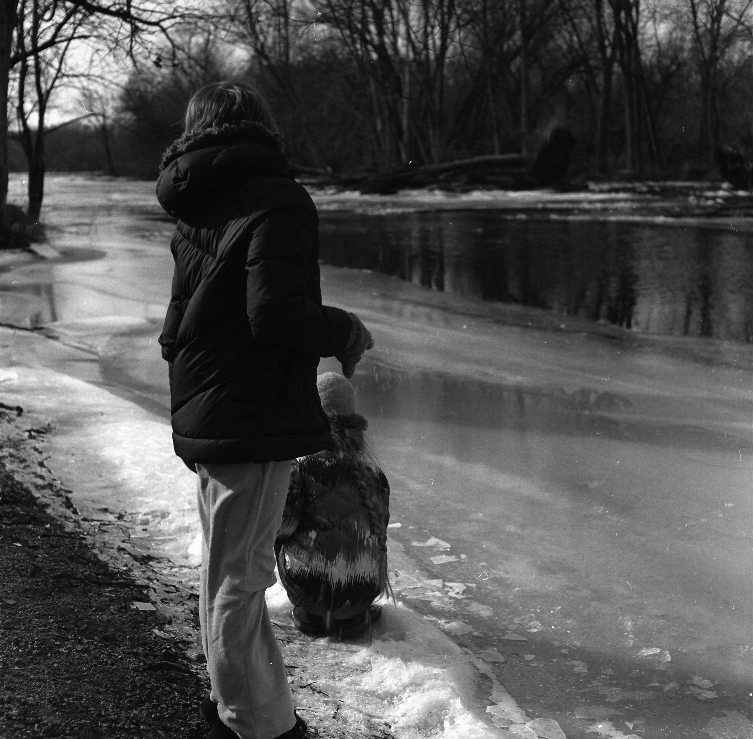 Breaking Ice on the Fox River.  Ilford PanF 50 film, developed in Rodinal.