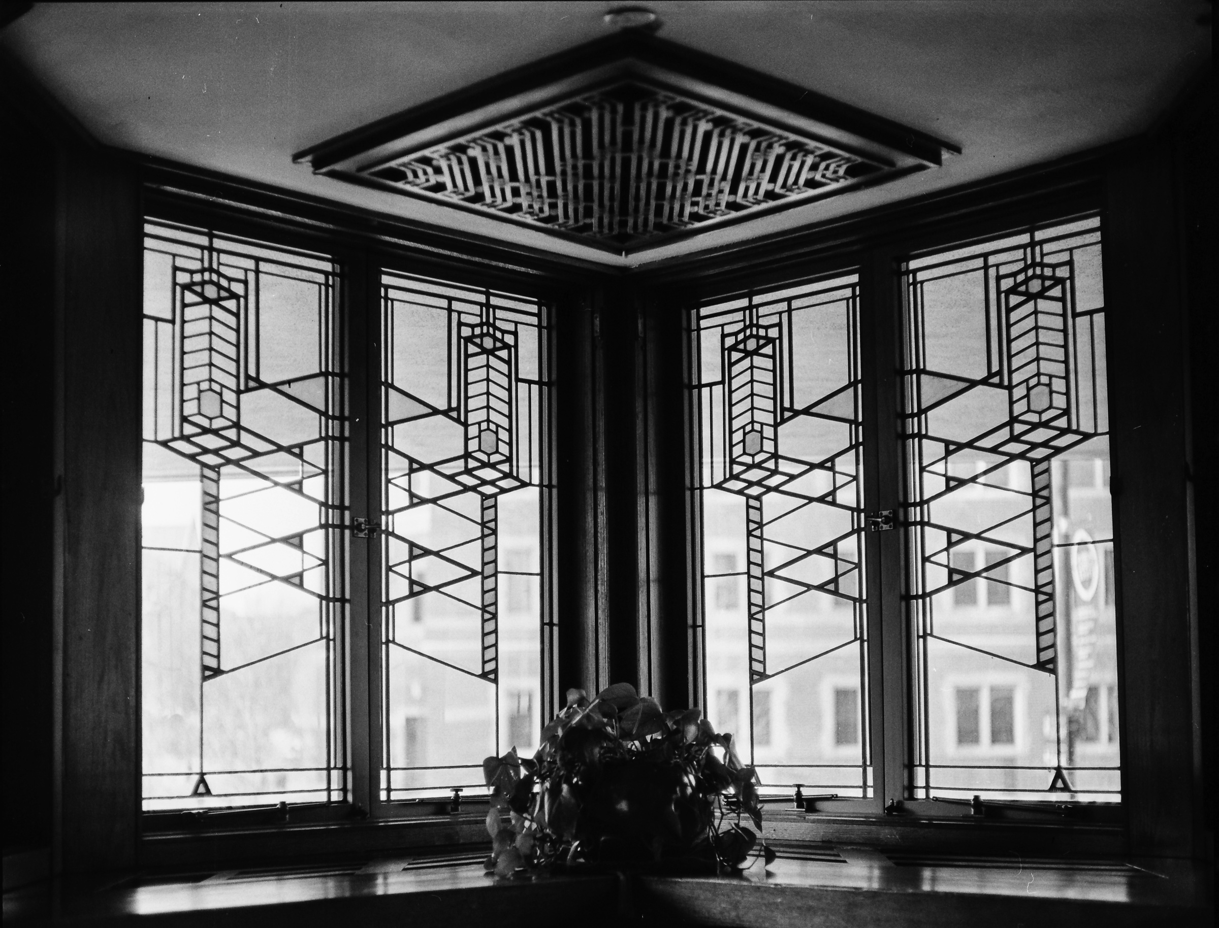 Art Glass.  The Frank Lloyd Wright Robie House. Chicago, IL. Kodak Tri-X 400 pushed to 800. Stand developed in Rodinal.