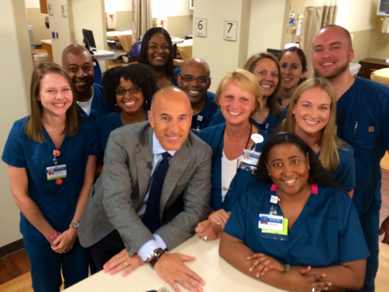 This team of nurses at Emory (pictured with Matt Lauer) were an incredible group of servants.