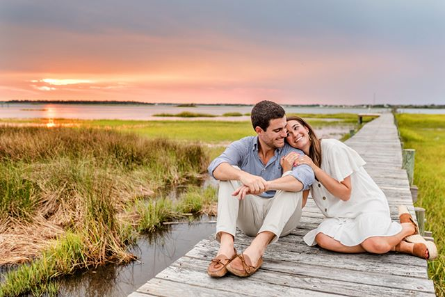 It was a gorgeous summer evening on the Crystal Coast for Addison & Jordan's engagement session! We started at Jordan's grandmother's house, which is also where he proposed (on the rooftop, at sunset! #perfect) and then headed to Emerald Isle. We are excited to watch these two tie the knot in September! #crystalcoastweddings #ncphotographer