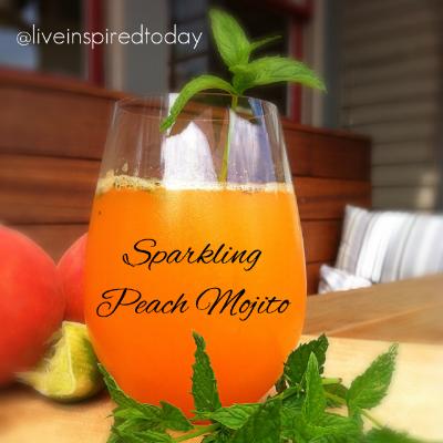Enjoy a refreshing Sparkling Peach Mojito