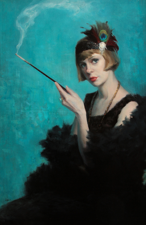 "Leah Lopez, ""Lady Liz,"" oil on linen, 36 x 24 in."