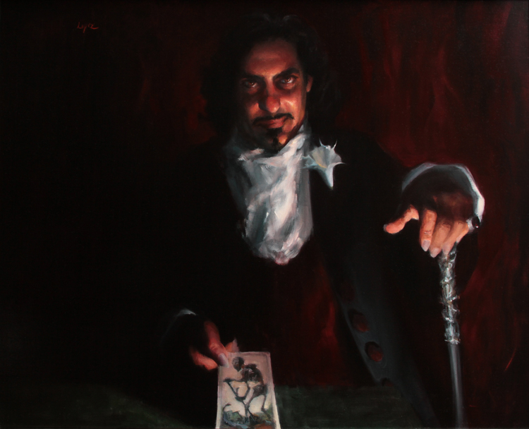 """Deal With The Devil""  (34"" x 42"", oil)  is a Finalist in the   Imaginative Realism Category"