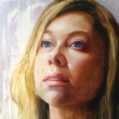 "Leah 2,   oil on canvas 58"" x 58"" (2014)     by Liz Adams-Jones"
