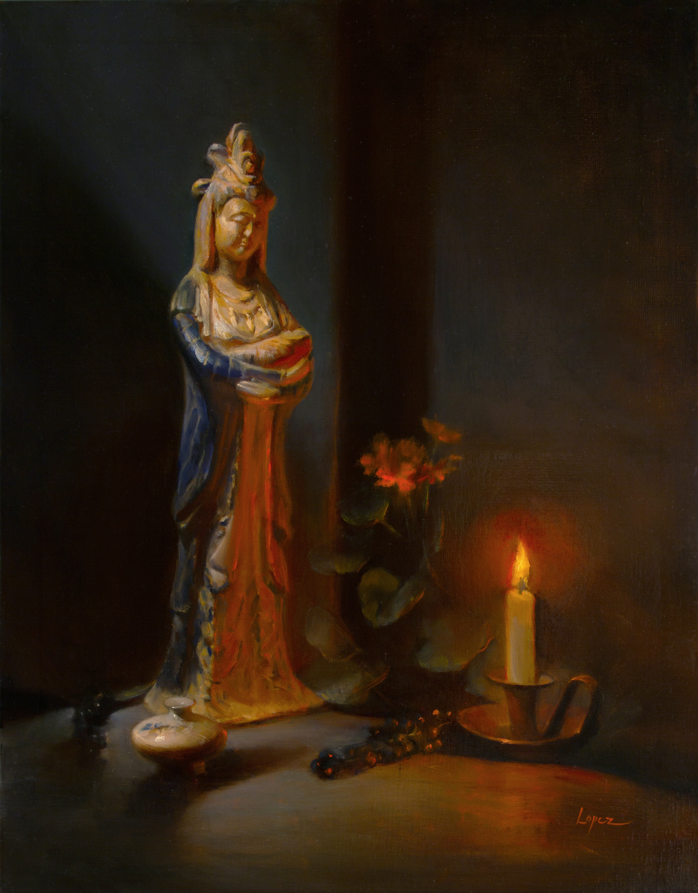 "A Prayer For Compassion (Guan Yin), oil 28x22""  ""Painting is both a composed intention and a revelation, and always a reflection of spirit.  I select subjects that I feel connected to, and the painting becomes my teacher, my mirror.   A Prayer for Compassion  is artwork that also pays homage to the feminine deity, Guan Yin.  Known by dozens of names, and many more histories, Guan Yin is the goddess of mercy, empathy and compassion. Her truths are our truths.  She is deeply woven into the fabric of us.  Her presence is the warmth of our hearts.  Our longing for compassion motivates us, so in return, we illuminate her figure, just as a gentle ray of hope shines a little light upon us all."
