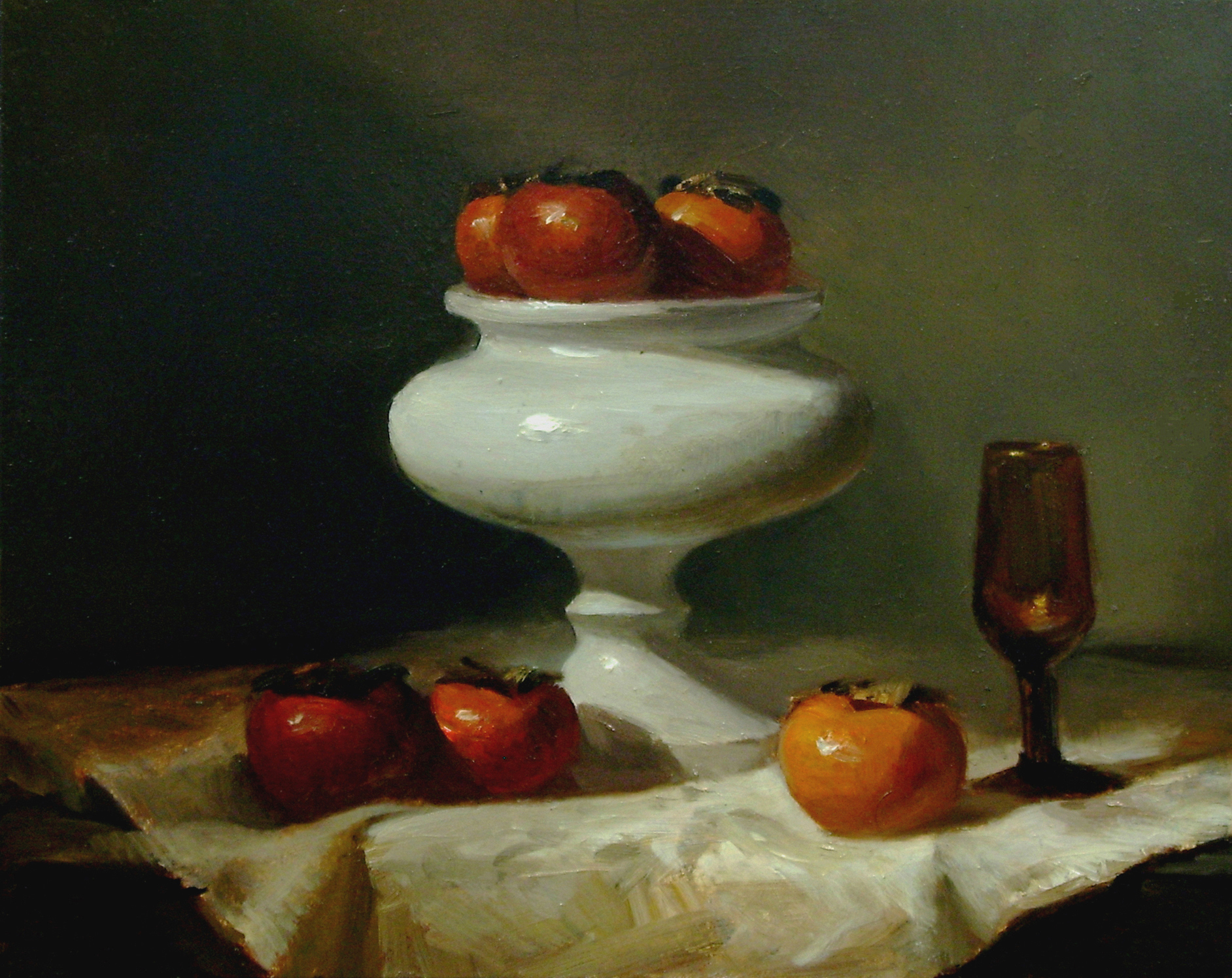 "Persimmons Amber and White, 8x10"" Oil on panel"