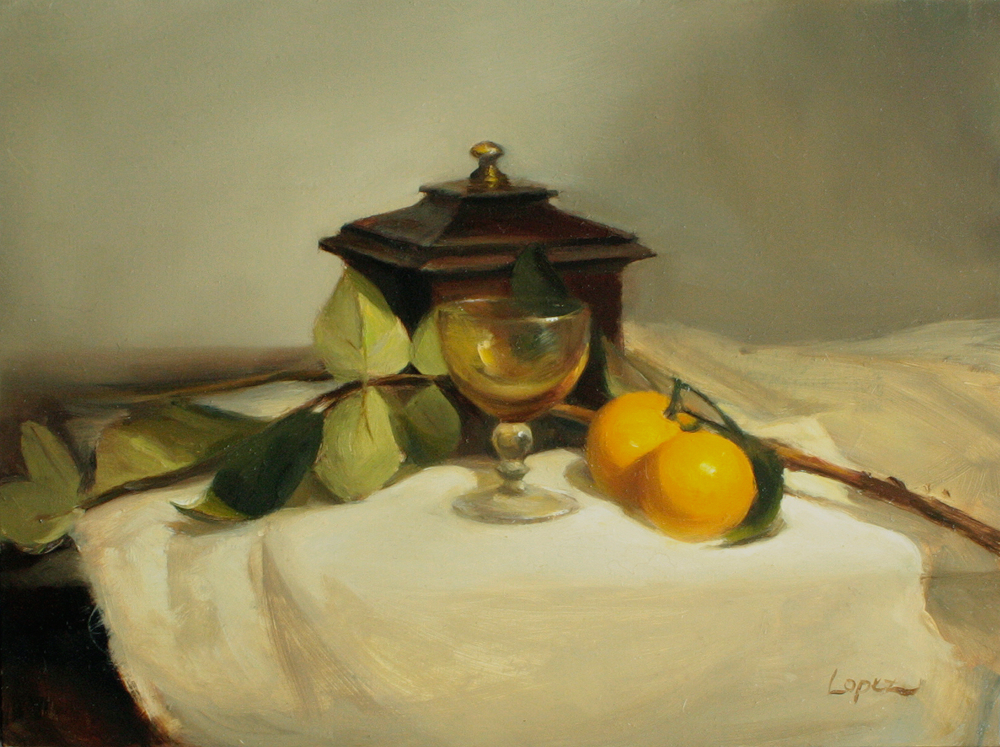"Music Box and Amber Glass, 12x9"" Oil on panel"