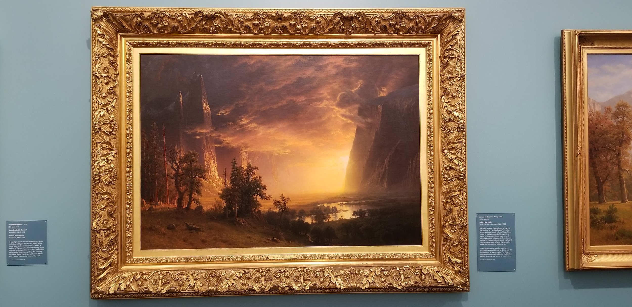 Sunset in the Yosemite Valley c. 1868 by Bierstadt, Albert 1830-1902   Size (inches): 36 1/4 x 52 1/4  Medium: Oil on Canvas Location: Hull Gallery