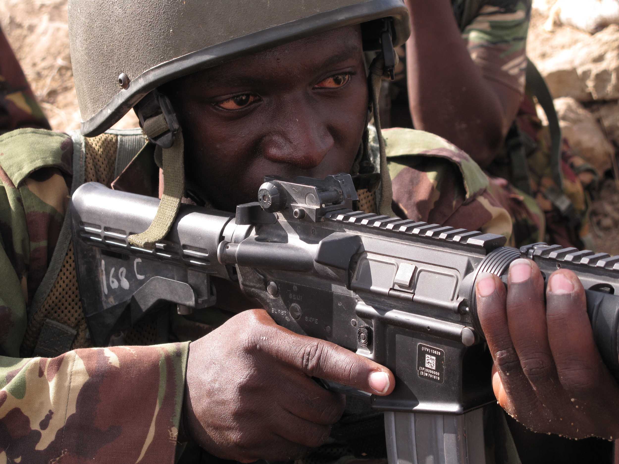 A Kenyan soldier in southern Somalia, two months after Kenya invaded their northerly neighbor