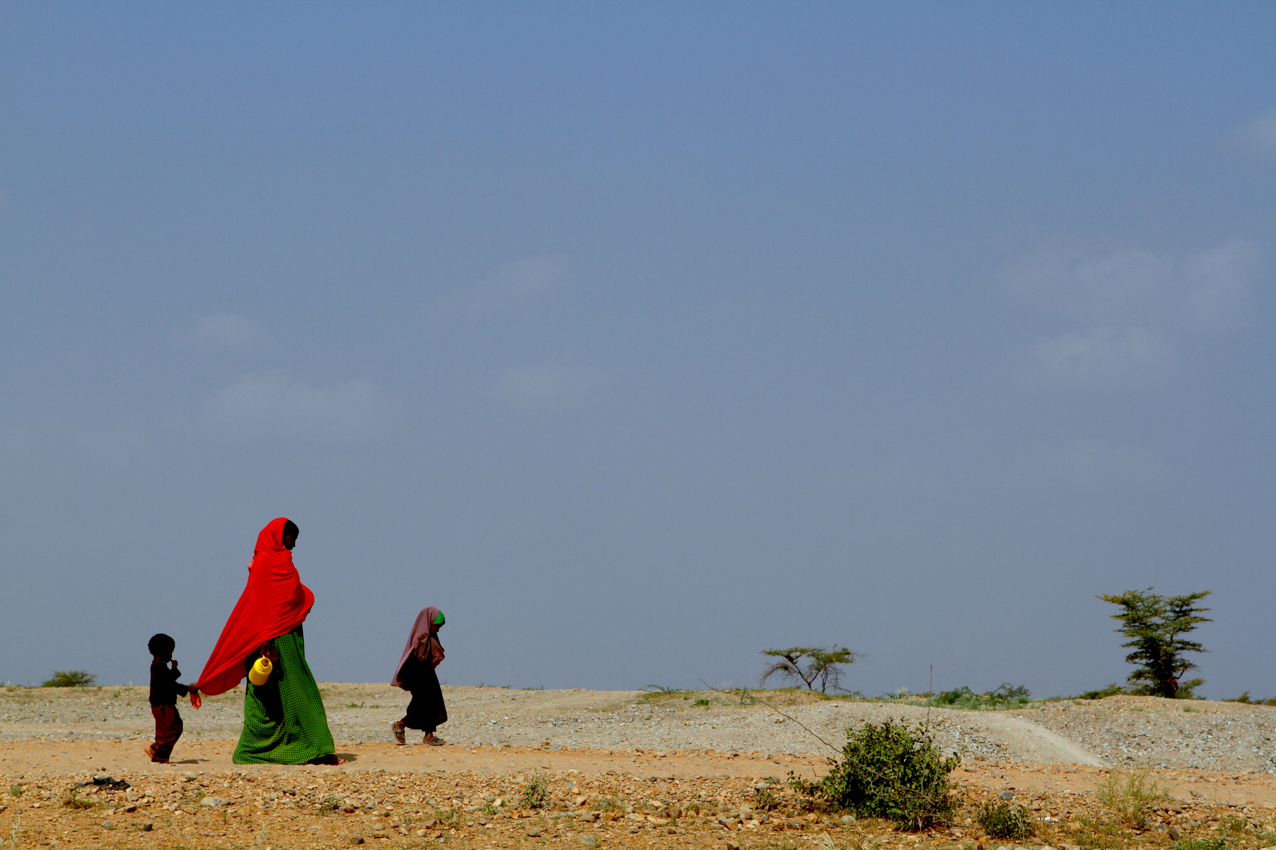 Somali refugees walking to fetch water in the Dolo Ado refugee camp in Ethiopia