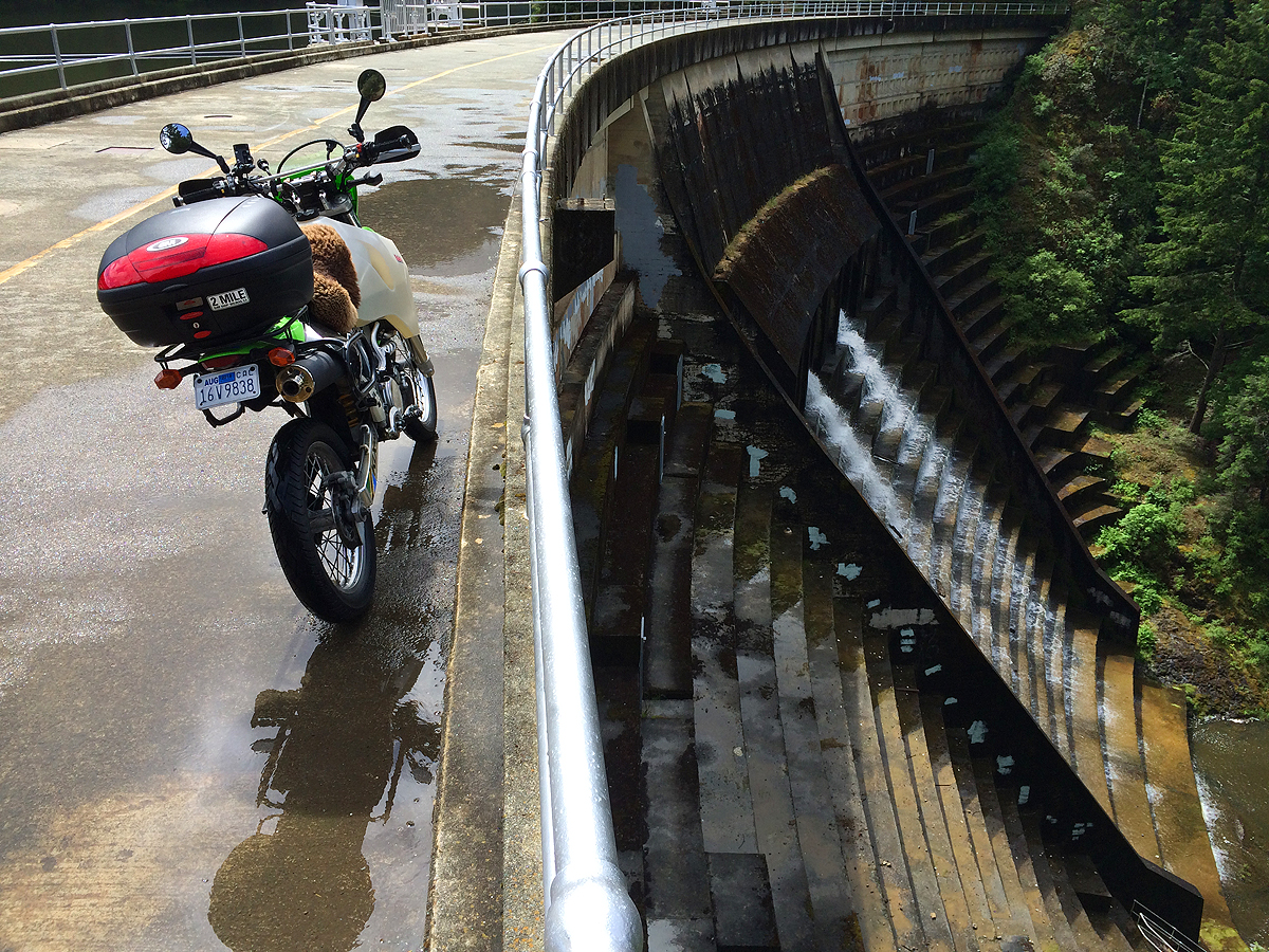 The dam at Alpine Lake. The tires handled the wet conditions well.
