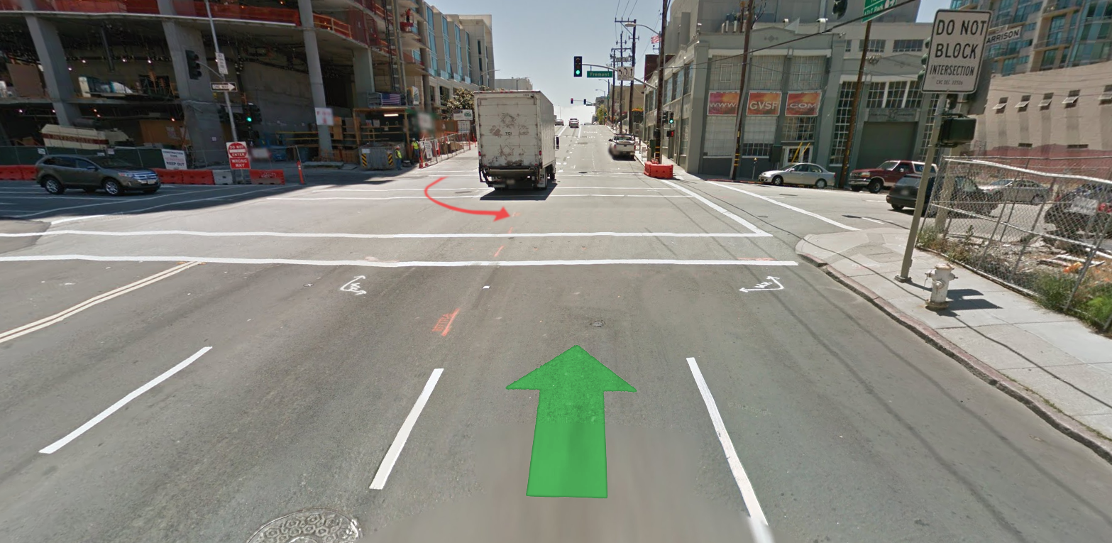 A ghost of an intersection from Google maps. Rush hour is a different story.