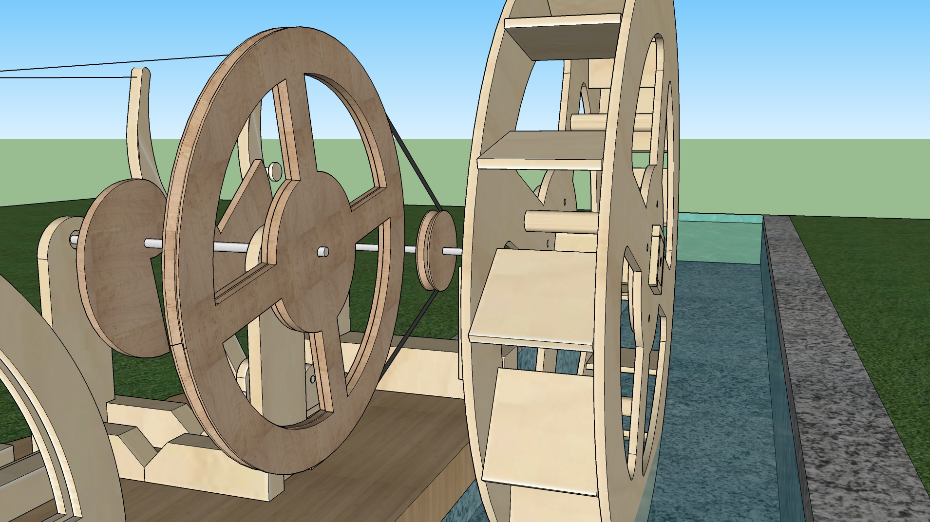 Waterwheel and pulleys 4:1 gear reduction