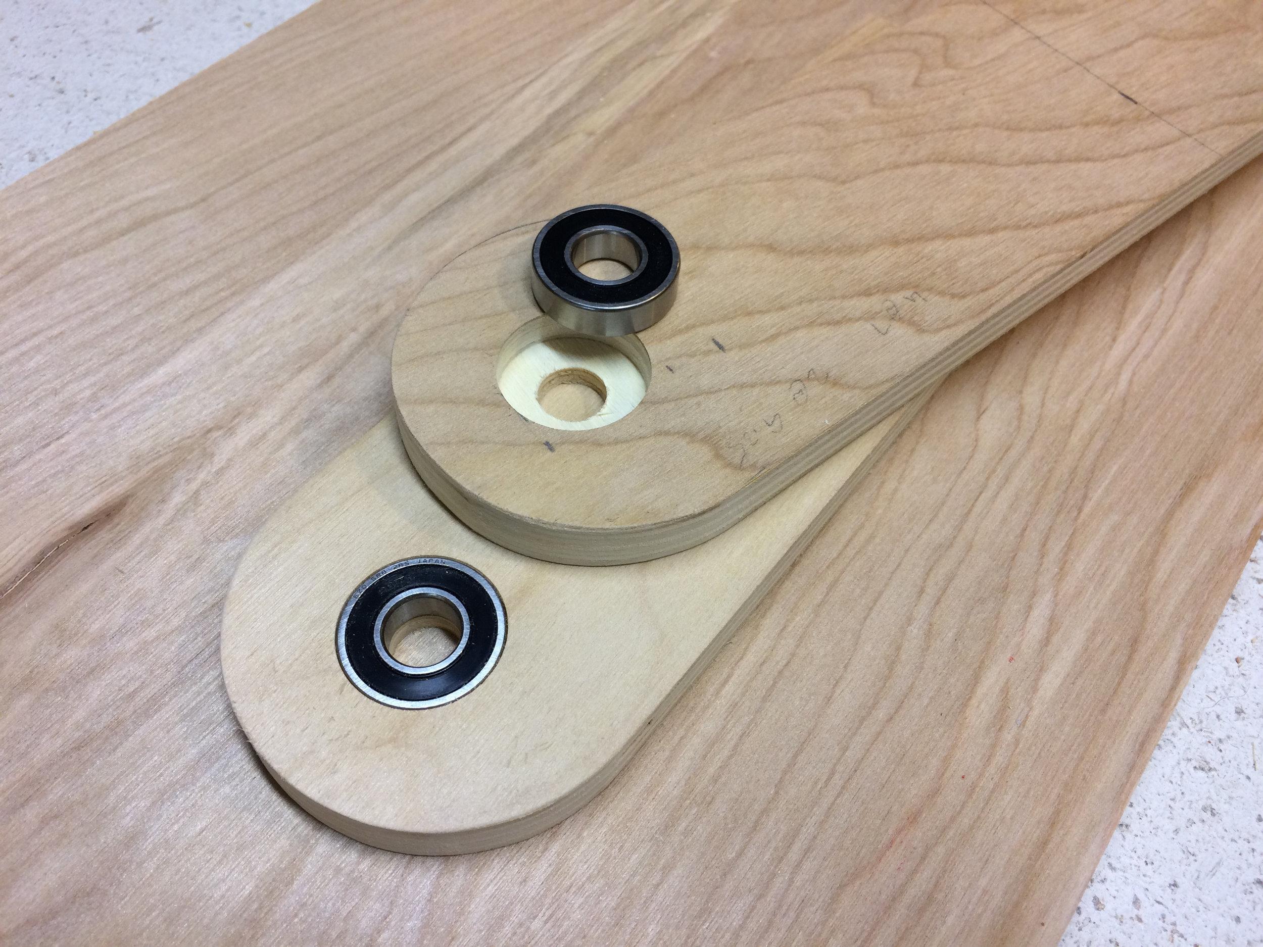 "Flush mounting bearings for the 1/2"" shaft"