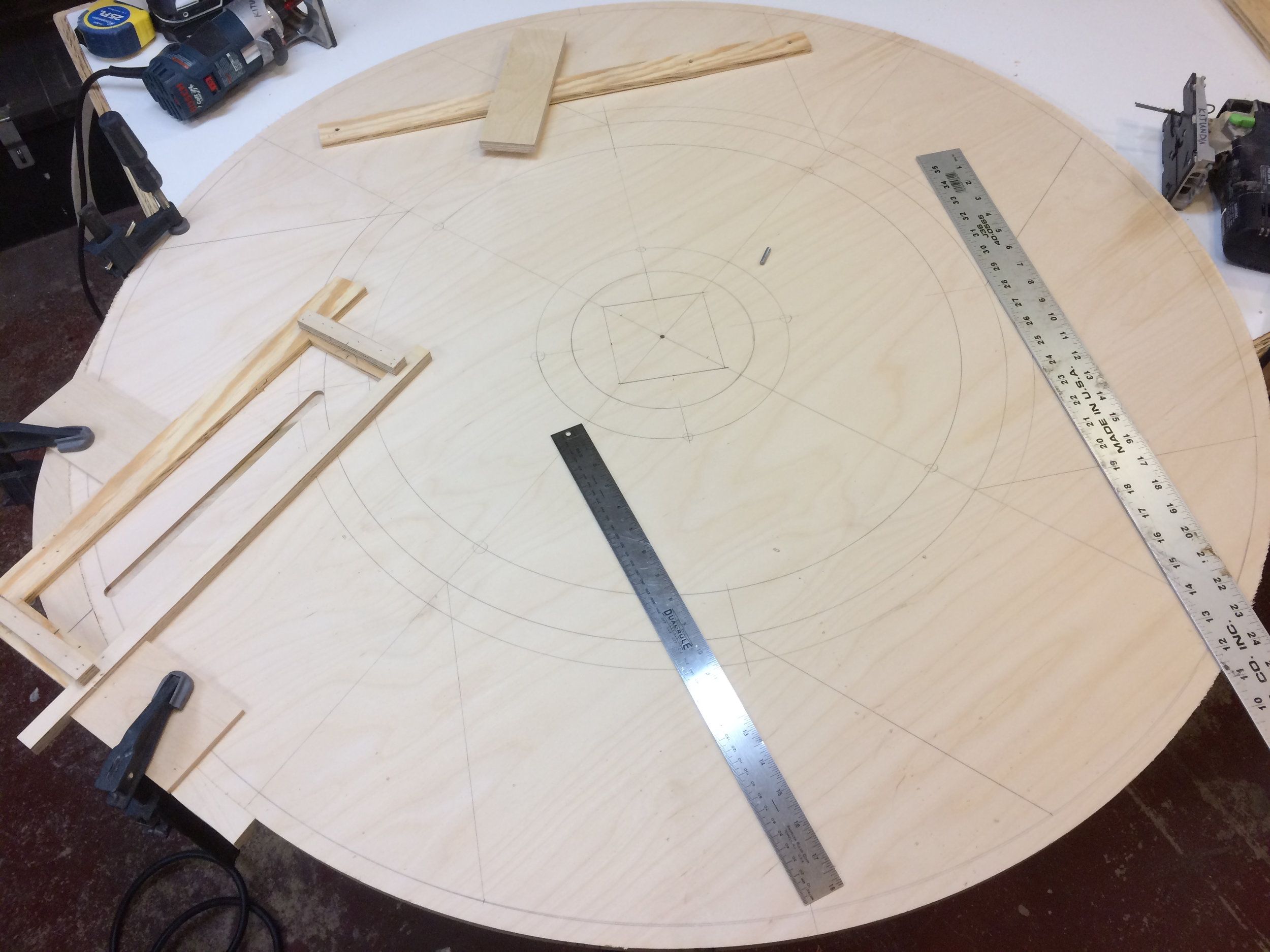 routing jig in place