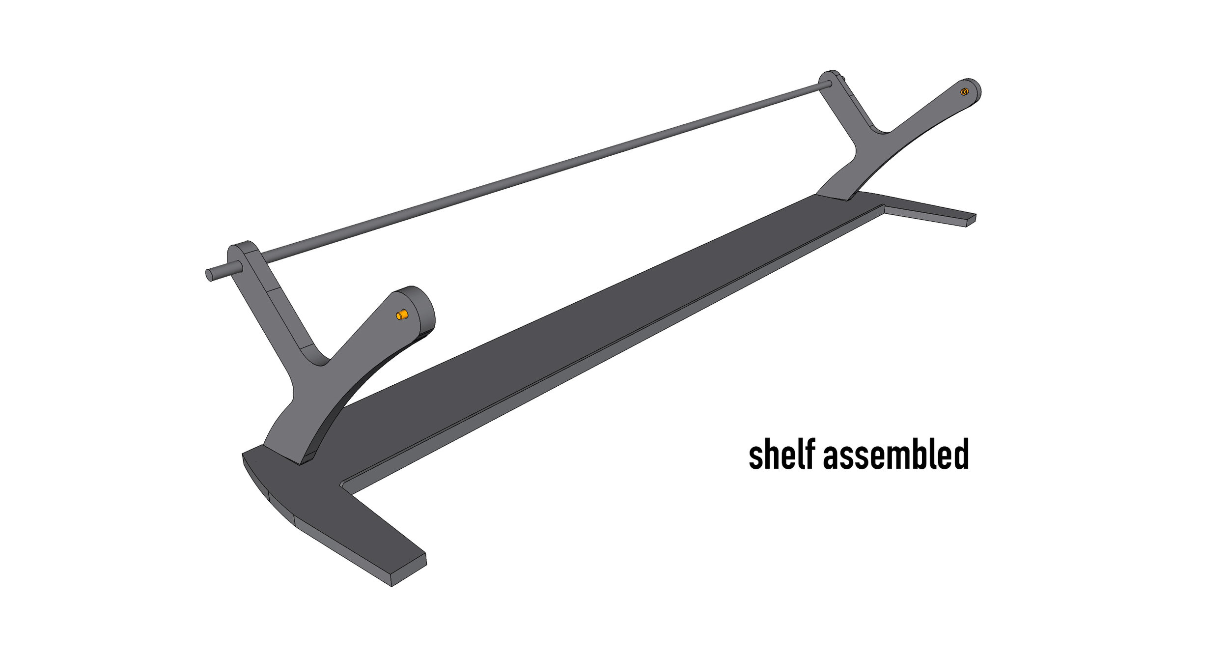 Assembled shelf should look like this. (pre-setting the thumbscrews can be helpful)