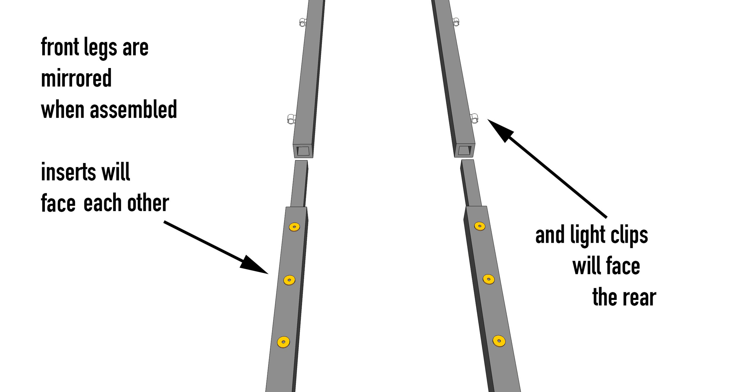 *Important: For each stand, the front legs will mirror each other so the light clips face rearward and the threaded inserts face each other.