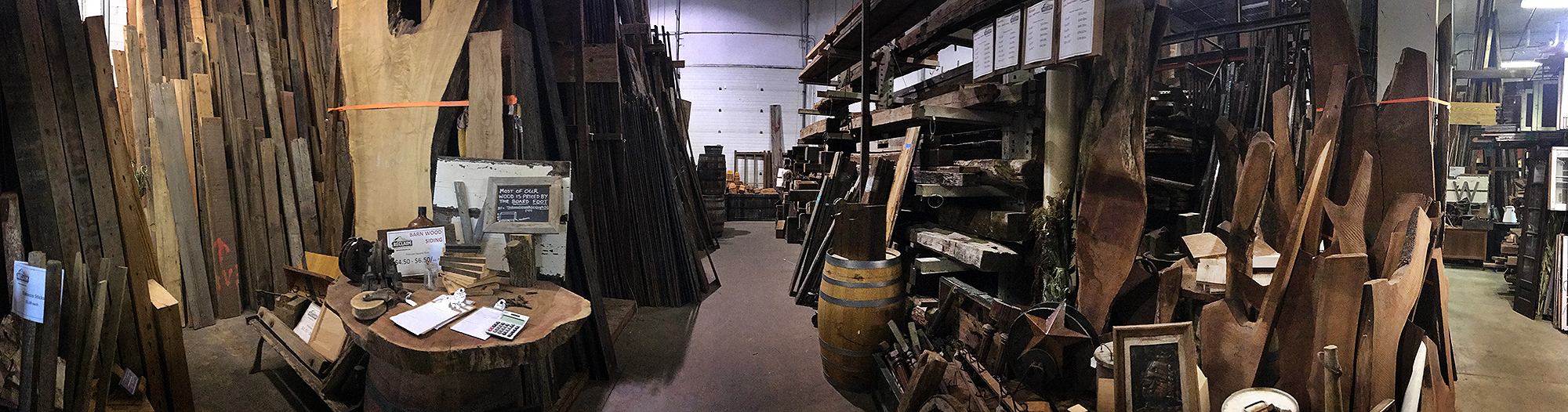 Sourcing wood from reclaimed lumber warehouses in northern Illinois.