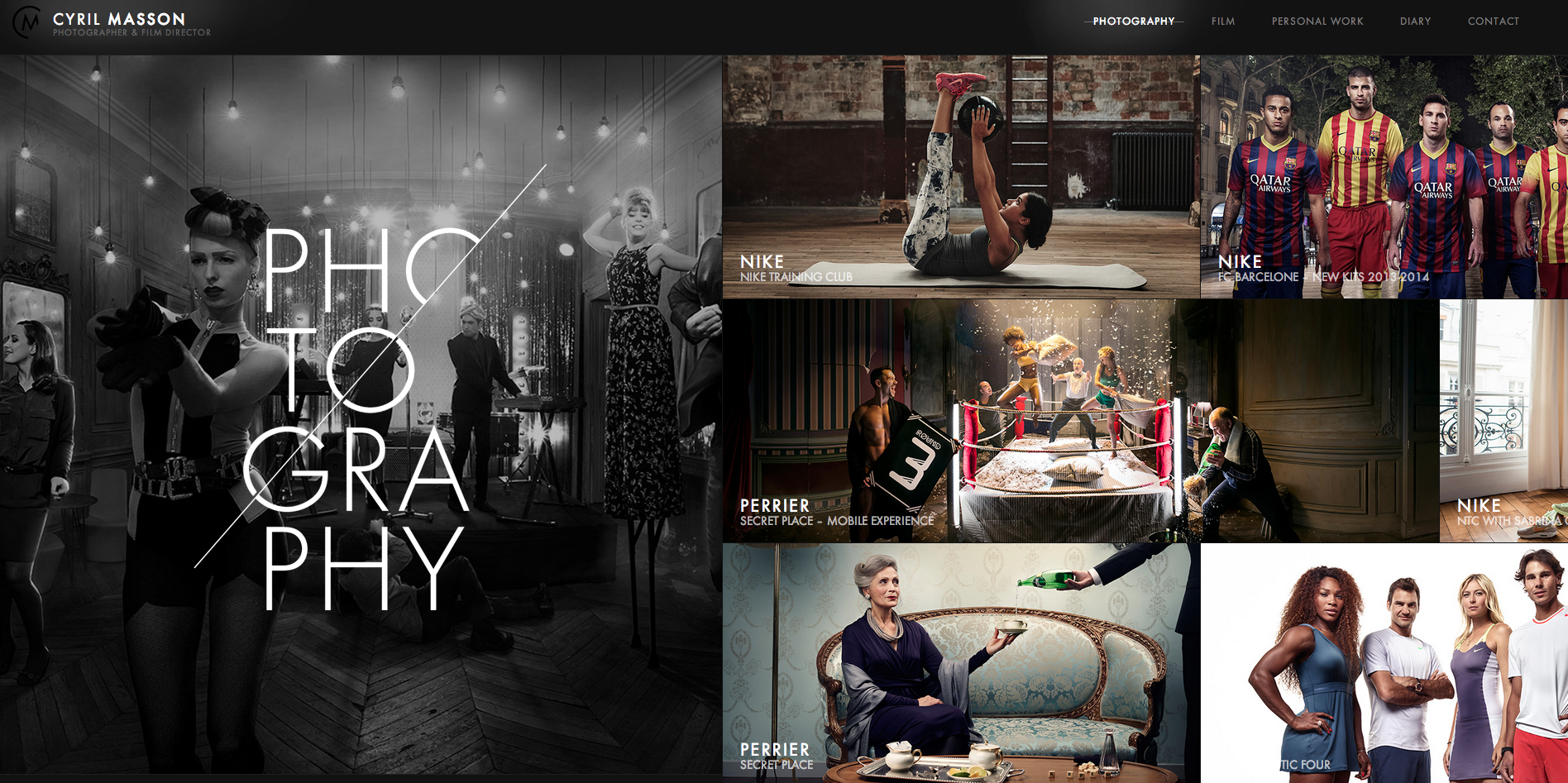 http://cyrilmasson.com/  the mood of the website. Interesting layout of the works.