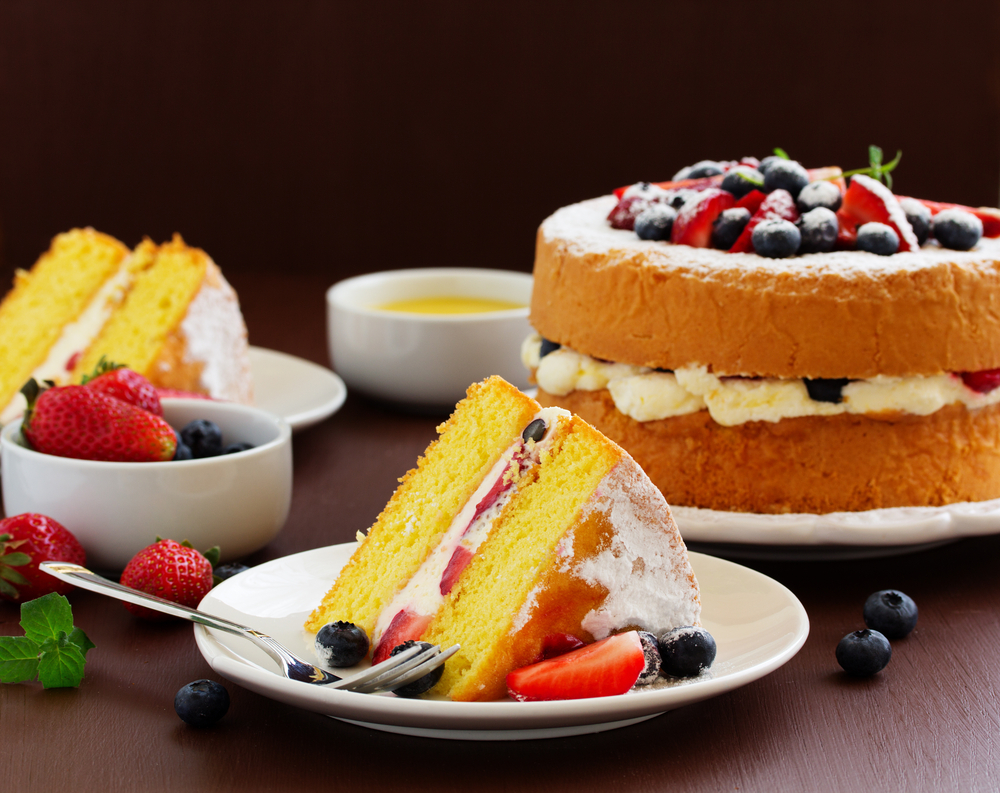 Gluten Free Genoise with Berry Jam, Mixed Berries and Chantilly Cream