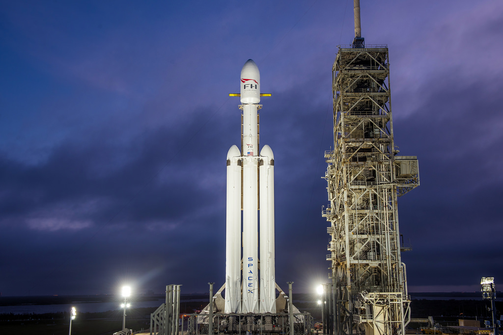 Falcon Heavy Lining up for its Inaugural Launch (Courtesy of  SpaceX )