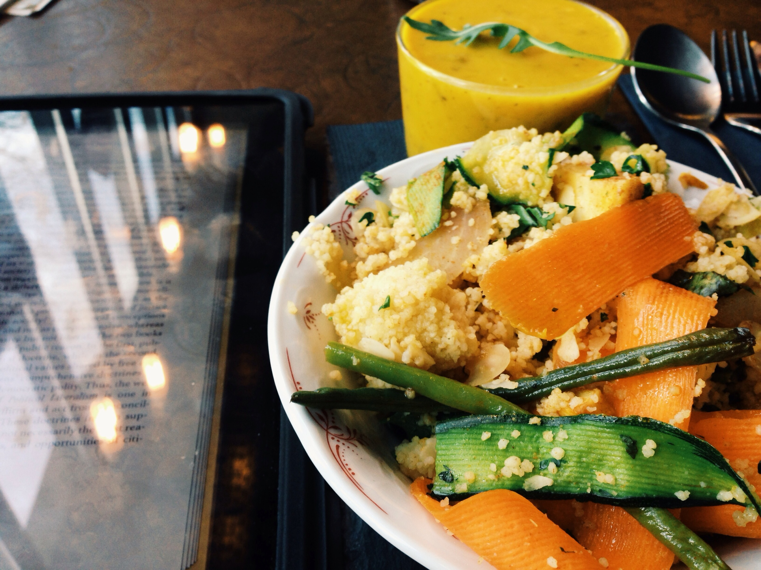 Butternut squash soup + couscous veggie salad (and again, a side of eBook)