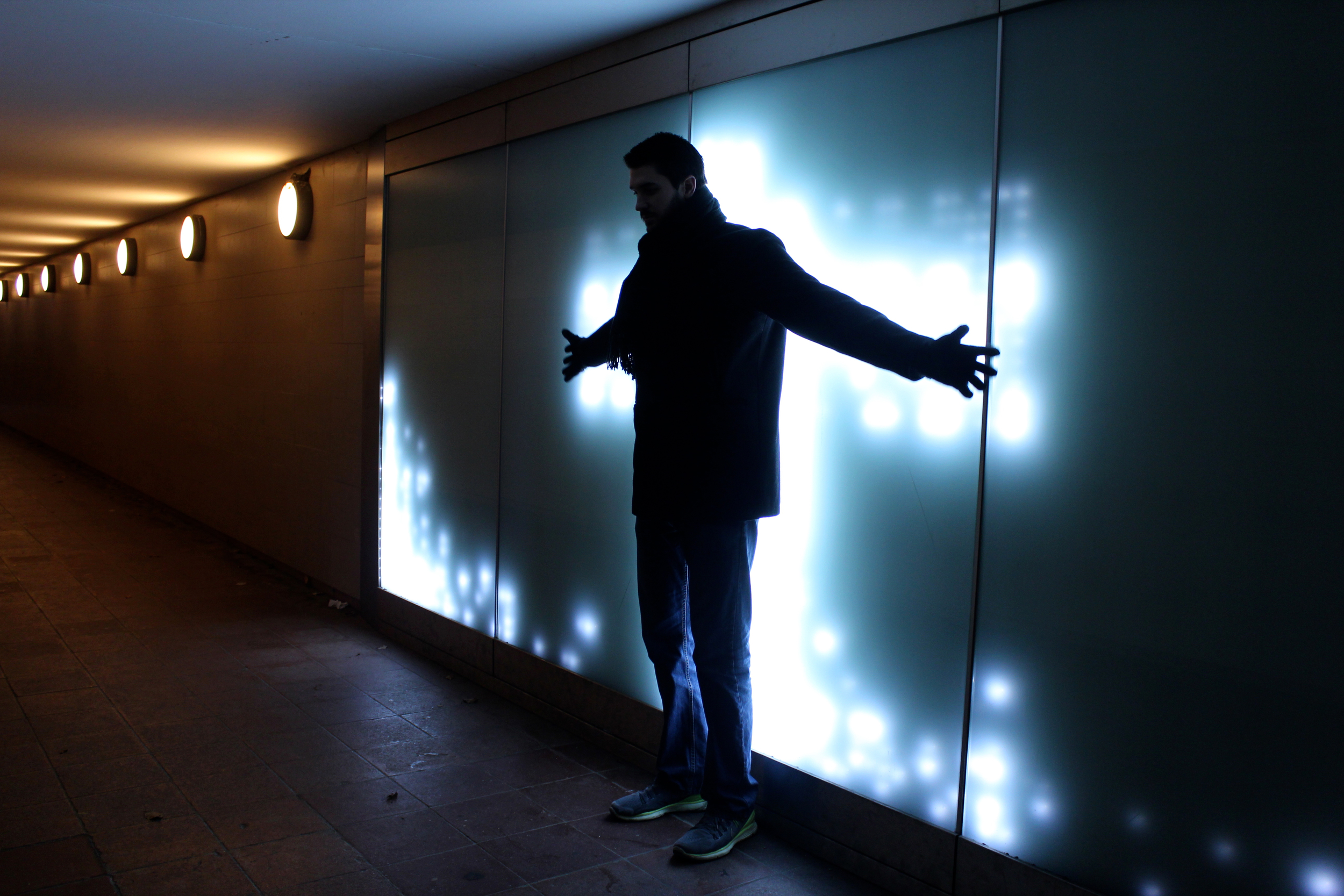 Light exhibit in the underground tunnel to the Victory Column