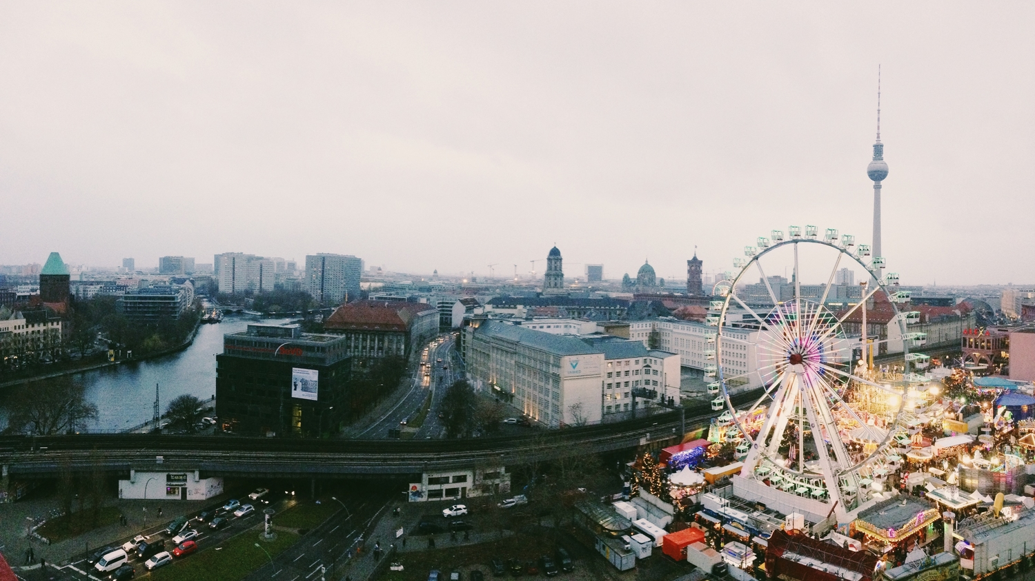 The view from our AirBnB overlooking Alexanderplatz