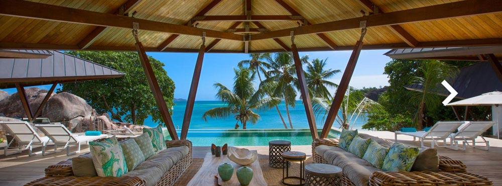 Villa Praslin  , Praslin, Seychelles  Sleeps 10+2, 5 Bedrooms, Main Residence & Guest Suites, Beachfront, Private Infinity Pool, Fully Staffed    View Villa