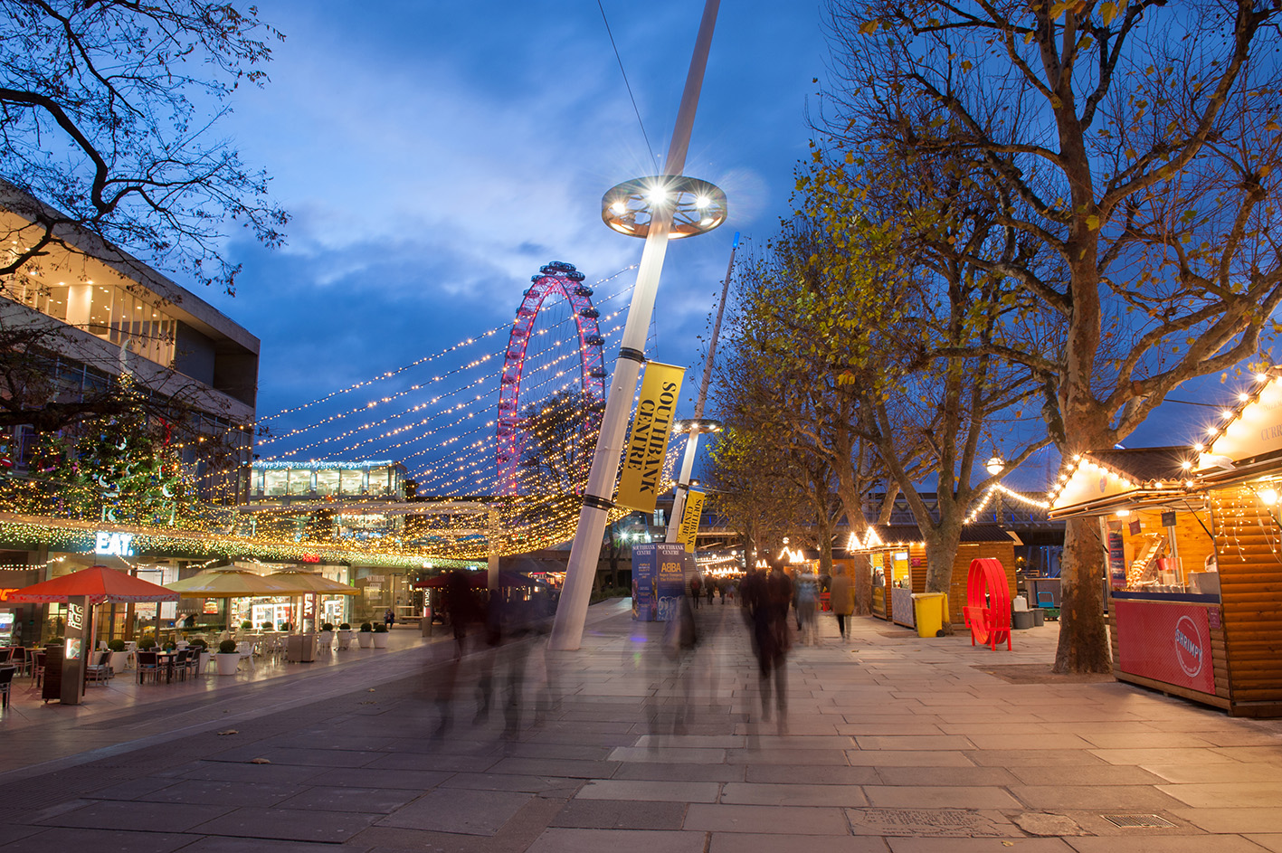 Night Photography of The Southbank, next to the Thames in London
