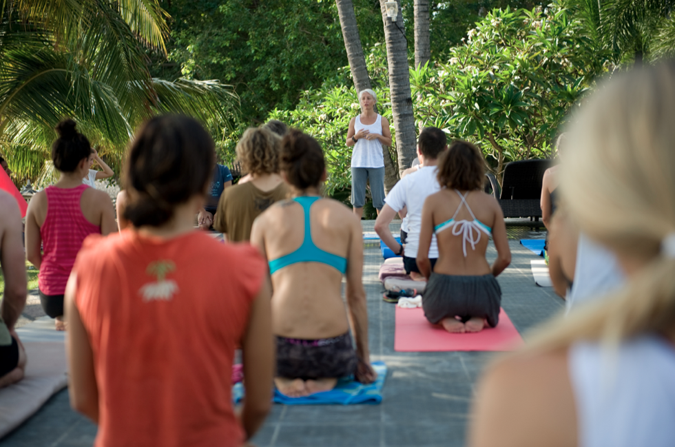 Teaching at the One Breath Jamboree in Bali. Photo credit Lili Cottier