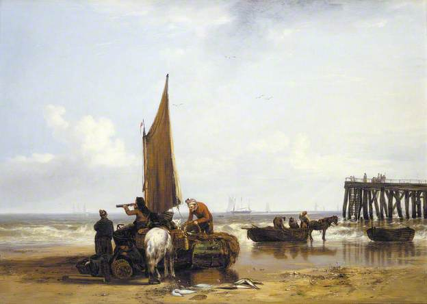 This painting  Yarmouth Beach  by Joseph Stannard inspired Tremain's story 'Man in the Water'