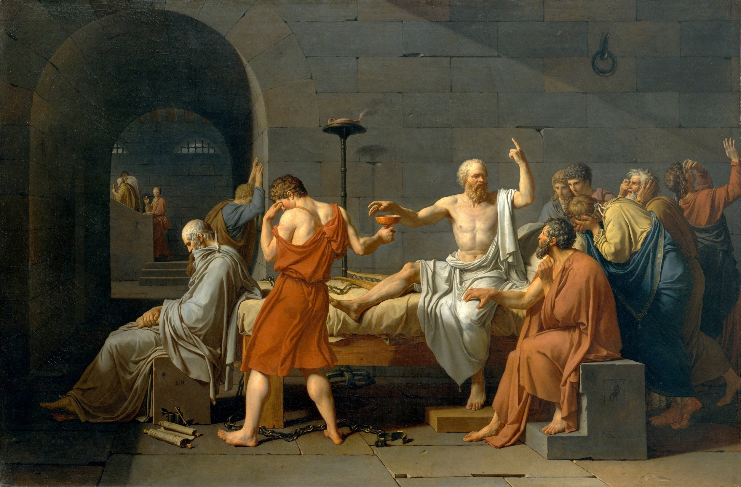 The Death of Socrates by Jacques-Louis David (a character named Ed's favourite painting)