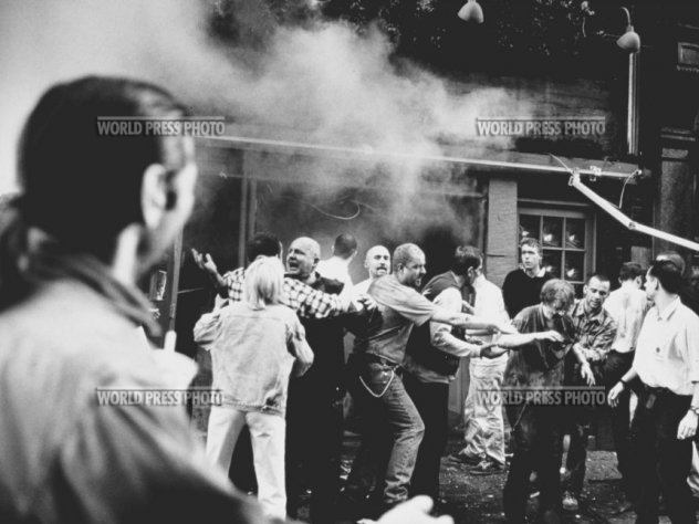 Image from outside theAdmiral Duncan, a gay pub in Soho on April 30, 1999 after theexplosion.