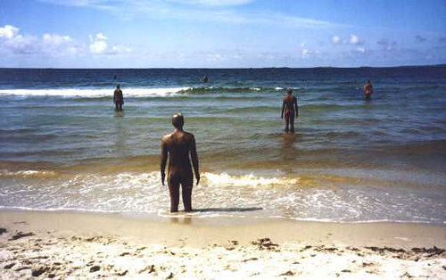 Norbury and her daughter visit Antony Gormley's art installation: 'Another Place' at Crosby beach.