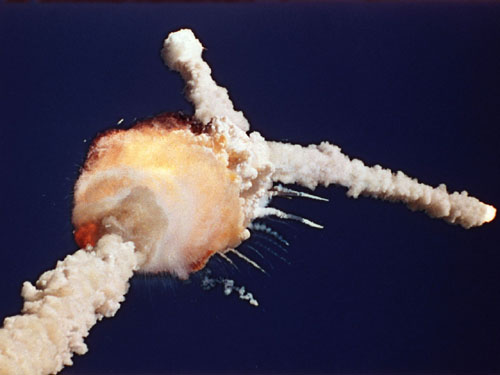 The Space Shuttle Challenger explosion.