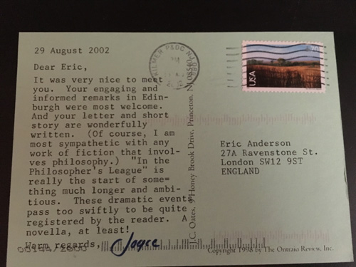 An early correspondence I had with Joyce Carol Oates