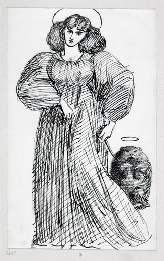 Drawing by Gabriel Rossetti of Jane Morris and his wombat Top