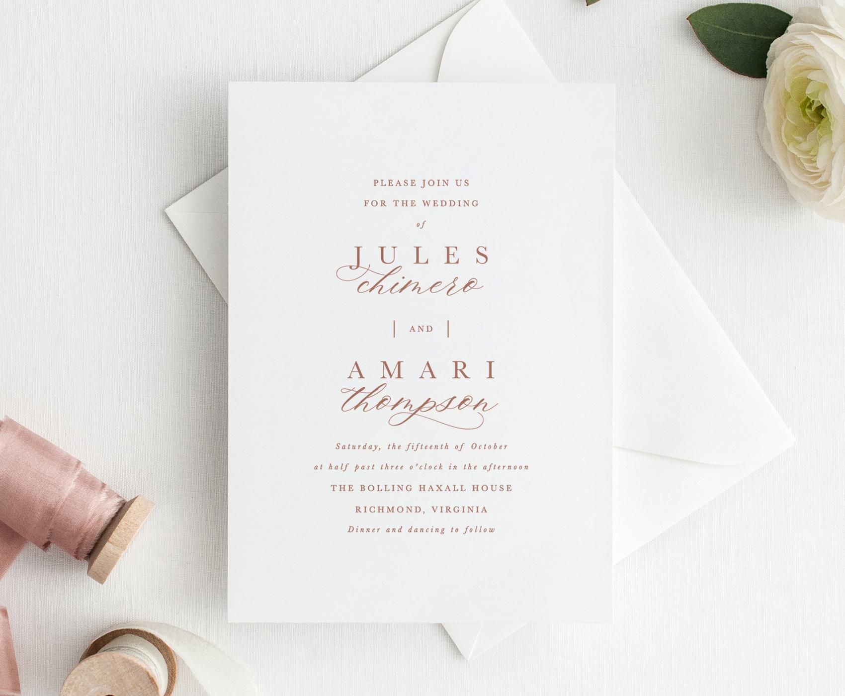 Greenwich Wedding Invitation