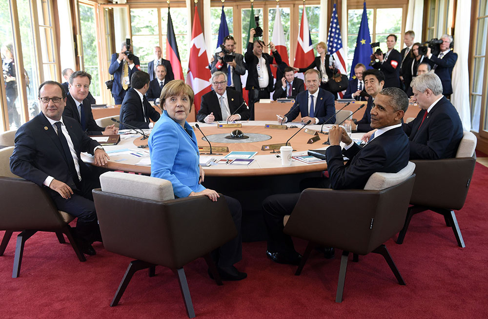 "G7 Summit Schloss Elmau _  That's the summit! Angela, Barack, François, David, Shinzo, Stephen and Matteo on our Coco chair ""special Elmau edition"", for Rossin. //June 2015"
