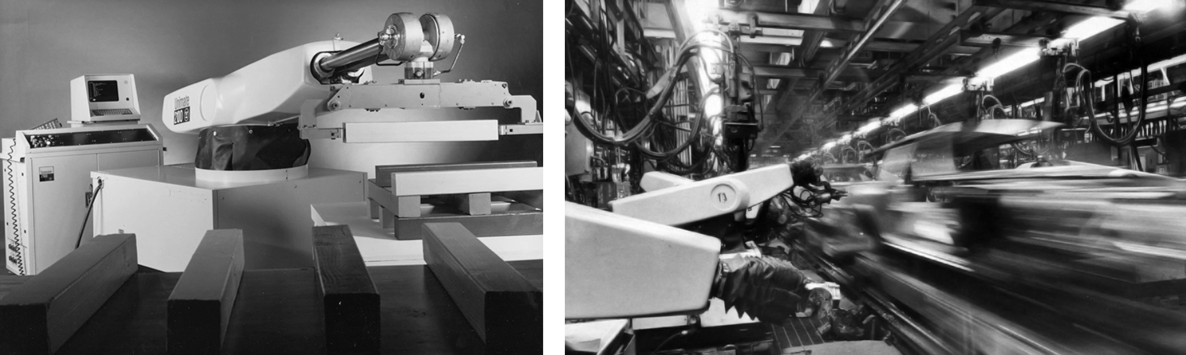 George Devol's  UNIMATE : early generation arm in 1961 (left) and the robotic workforce on GM's assembly line in 1972 (right).