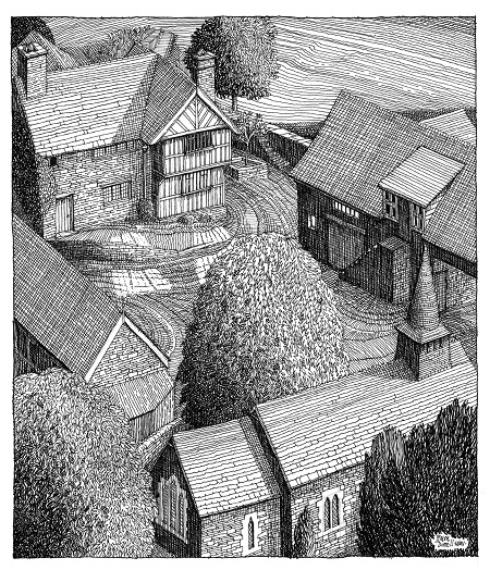 Simon Dorrell, 'Upper House and St Michael's Church, Discoed'. Pen and ink. With thanks